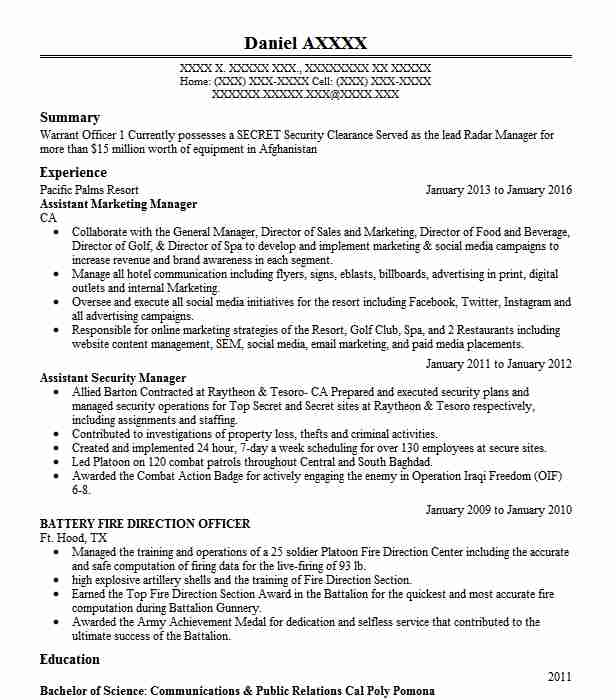 Assistant Marketing Manager Resume Sample Livecareer
