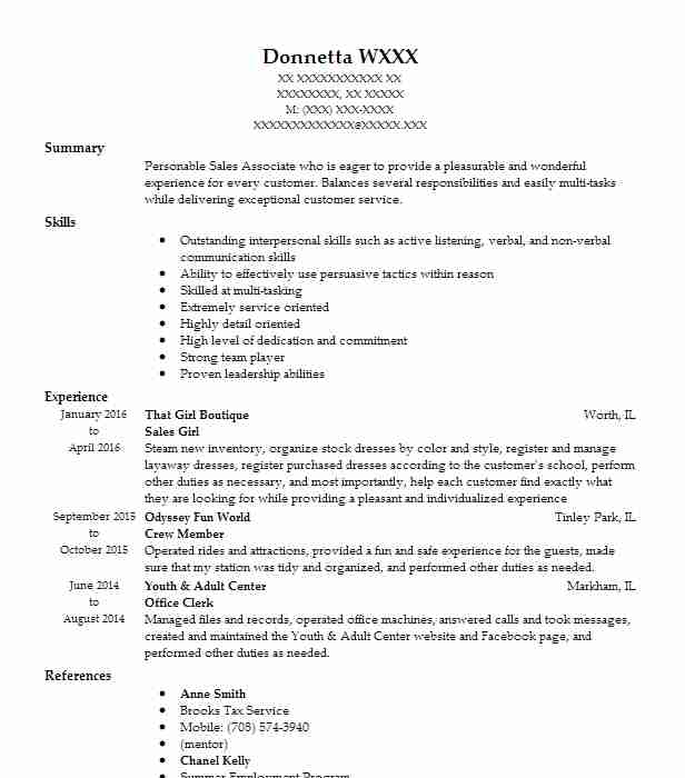 Sales Girl Resume Example Dolly's Fashions