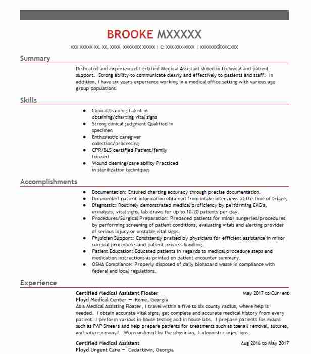 certified medical assistant resume example cumberland