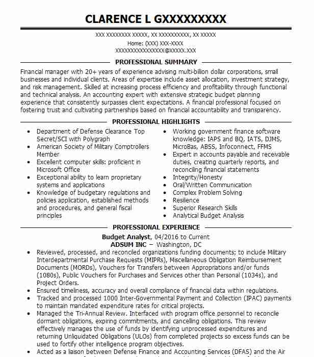 Budget Analyst Resume.Budget Analyst Resume Sample Accountant Resumes Livecareer