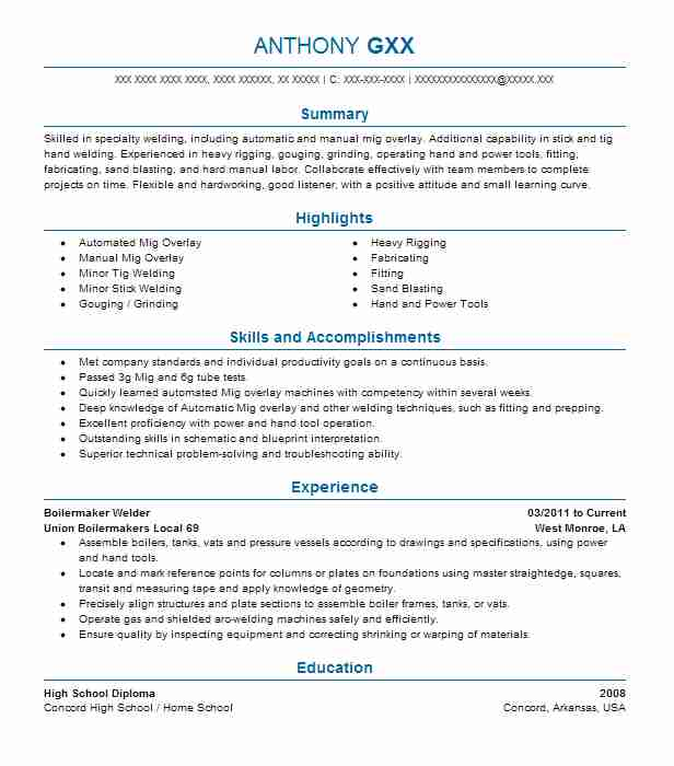 Boilermaker Welder Resume Sample | Welder Resumes | LiveCareer