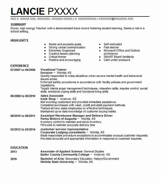 vocational trainer resume sample