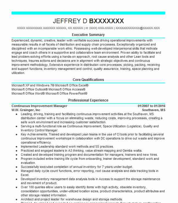 corporate continuous improvement manager resume example