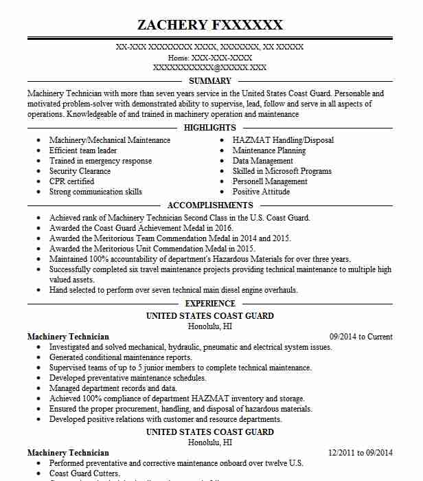 chief machinery technician resume example united states