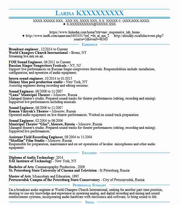 Broadcast Engineer Resume Sample | Engineering Resumes | LiveCareer