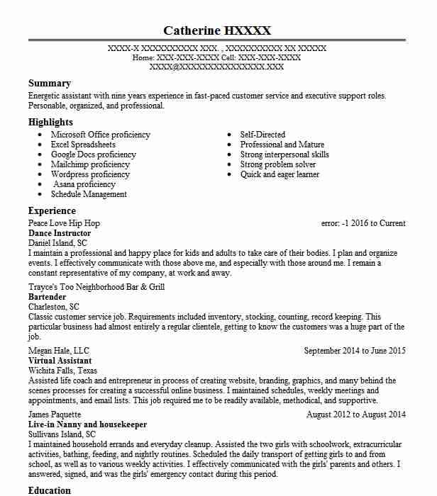 dance instructor resume sample