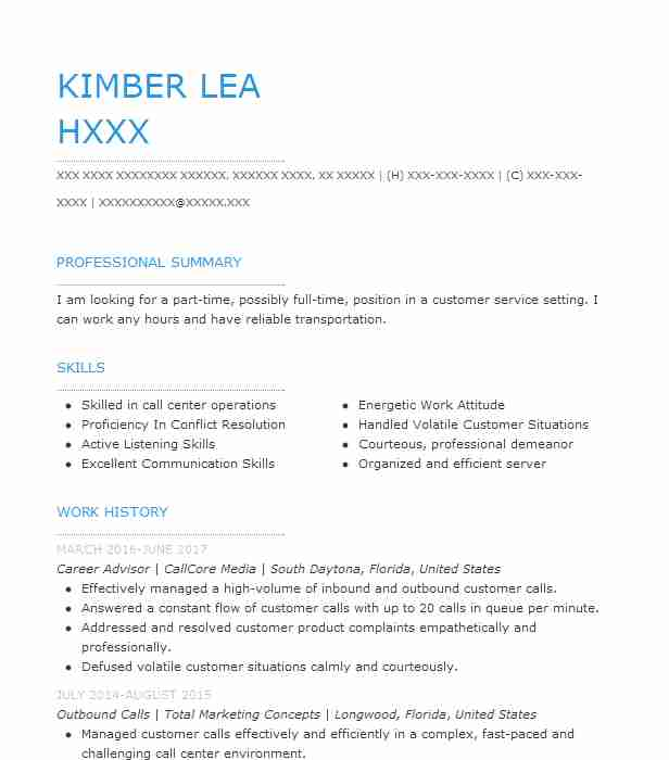 career advisor resume sample