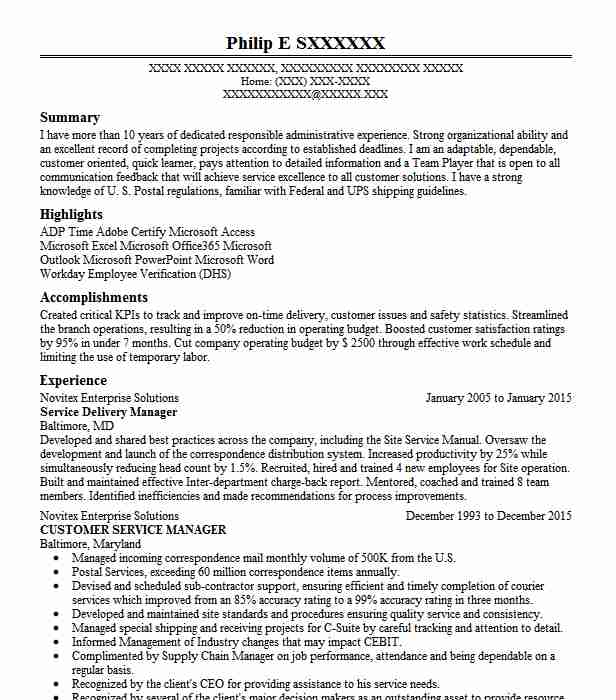 service delivery manager resume example schlumberger