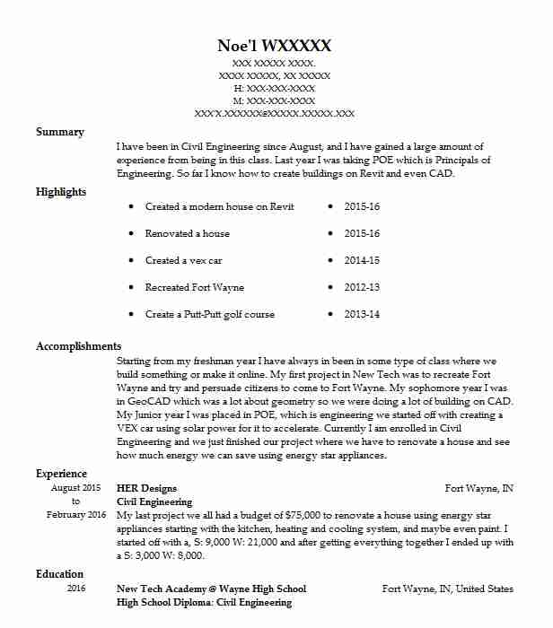 Civil Engineering Summary For Resume