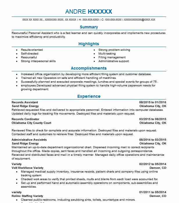 129 Personal Assistants (Administrative Support) Resume Examples in ...