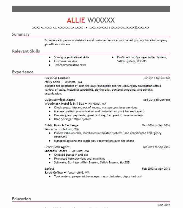 best personal assistant resume example