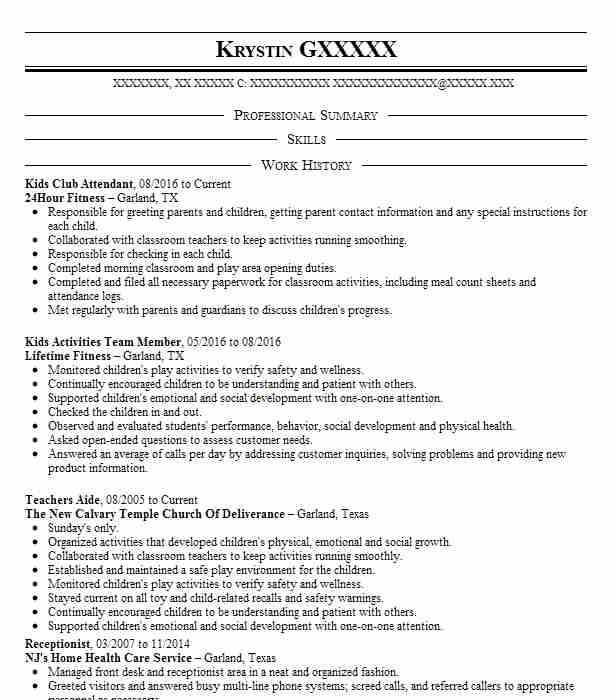 Kids Club Attendant Resume Sample | Attendant Resumes | LiveCareer