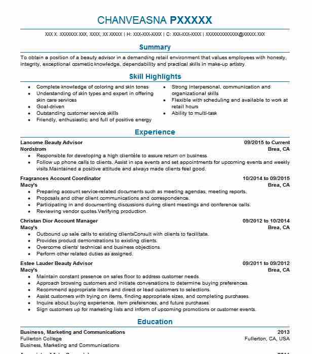 Lancome Beauty Advisor Resume Sample Resumes Livecareer