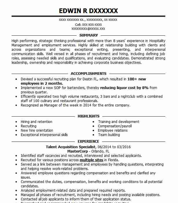 Talent Acquisition Specialist Resume Sample | LiveCareer