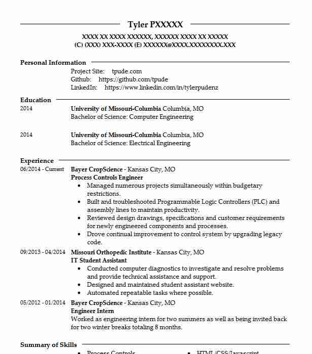 Best Process Controls Engineer Resume Example