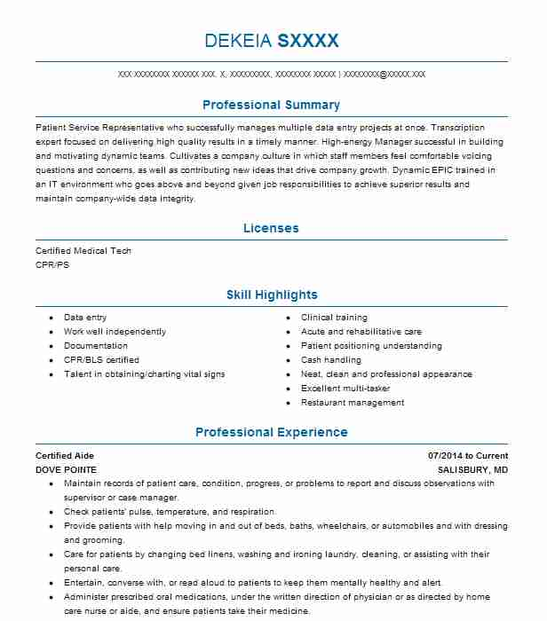 find resume examples in salisbury  md
