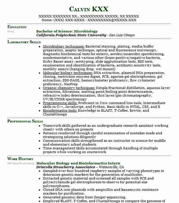 Biology Intern Resume Example University Of Mississippi Madison