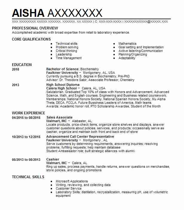 sales associate - Forensic Science Student Resume