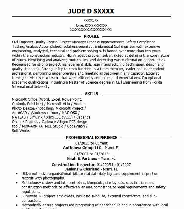 Construction Inspector Resume Sample | Inspector Resumes ...