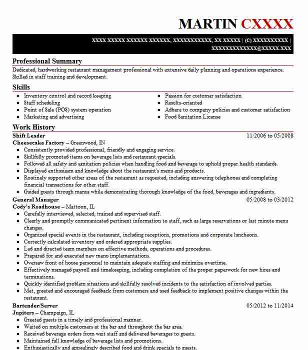 Shift Leader Resume Sample Leader Resumes Livecareer