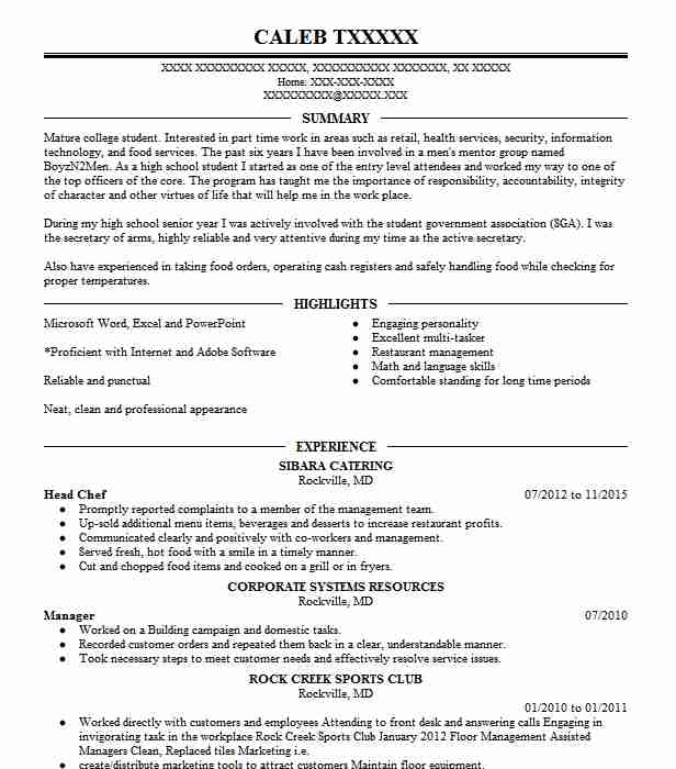 Head Chef Resume Sample | Chef Resumes | LiveCareer