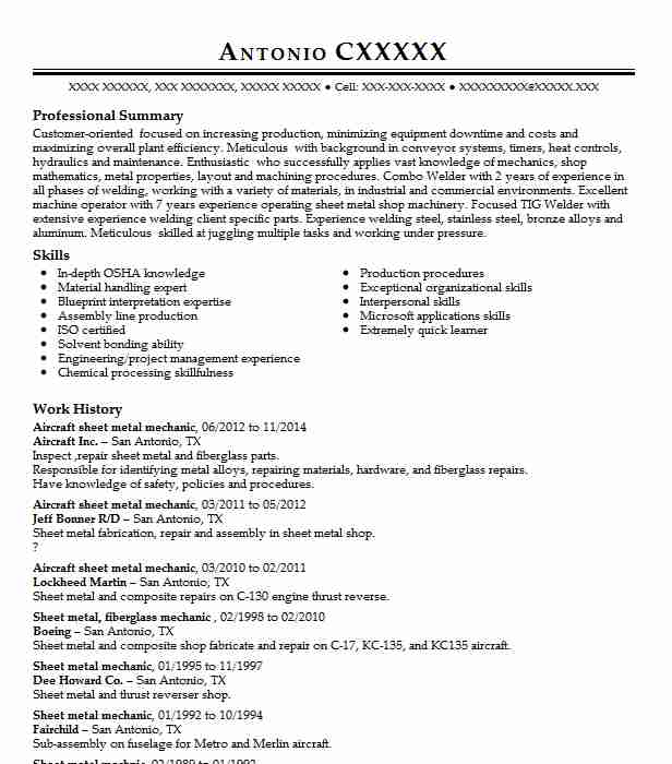 aircraft sheet metal mechanic resume sample