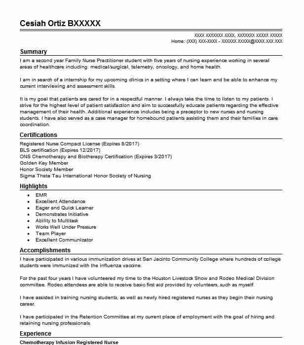 chemotherapy infusion nurse resume example memorial cancer