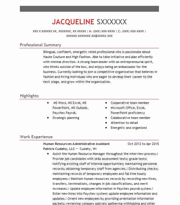 curriculum vitae human resources assistant