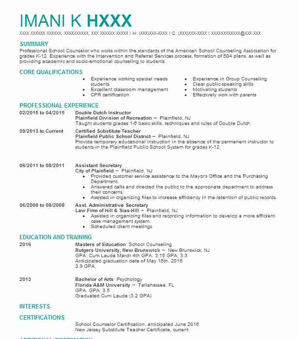 280 School Counseling Resume Examples In New Jersey Livecareer