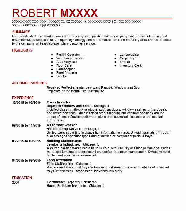 glass installer resume sample