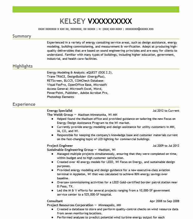 63 Energy And Utilities Resume Examples in Minnesota | LiveCareer