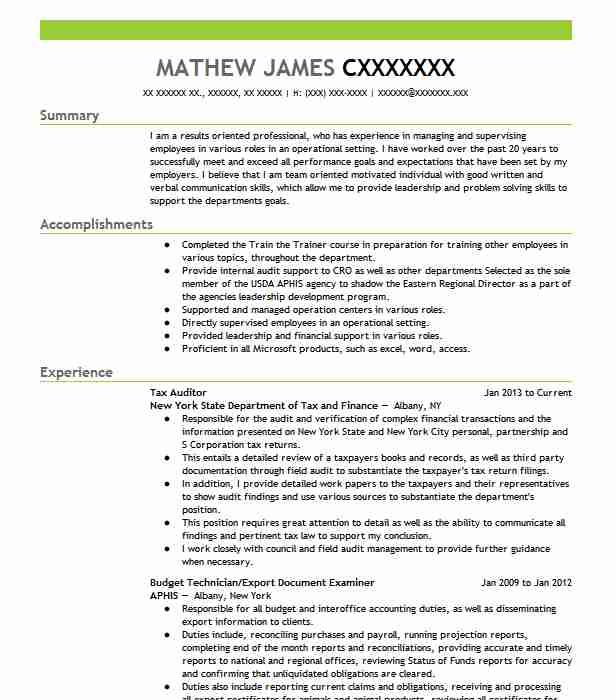 Tax Auditor Resume Sample | Auditor Resumes | LiveCareer