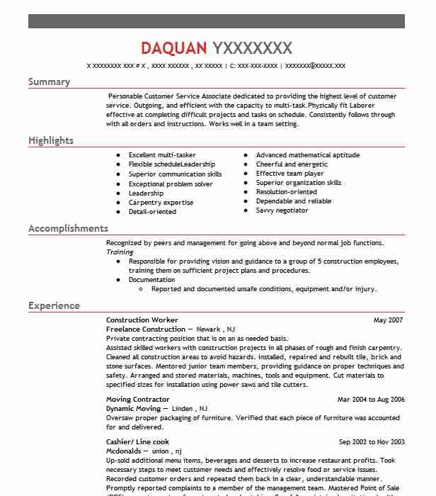 construction worker resume sample