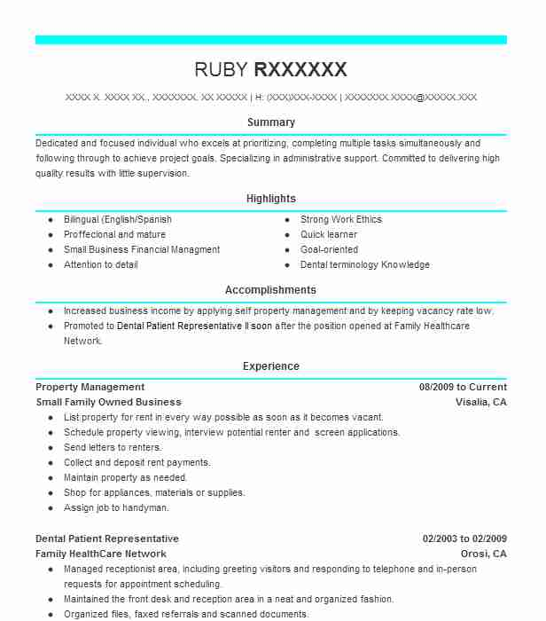 property management resume example small family owned business visalia california