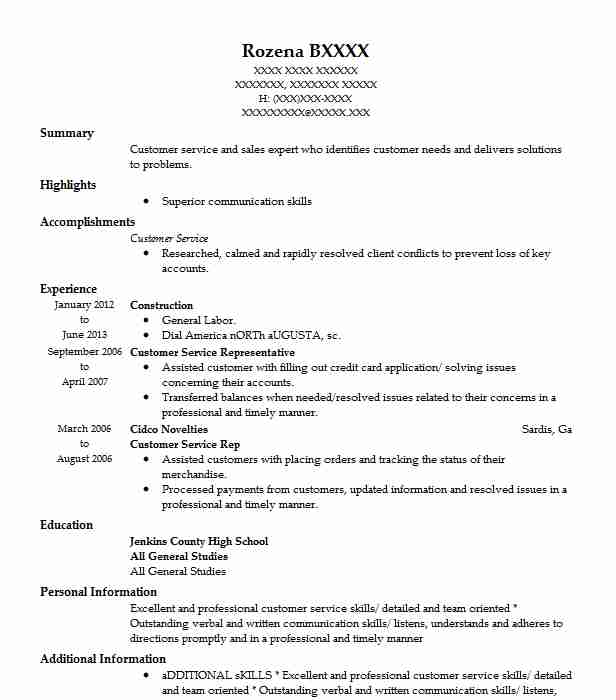 construction resume objectives resume sample