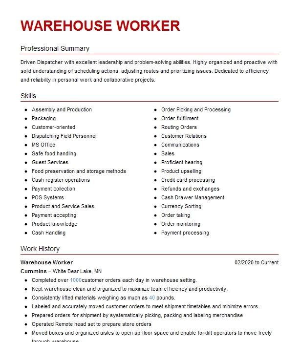 warehouse worker resume example alphapointe via stivers staffing