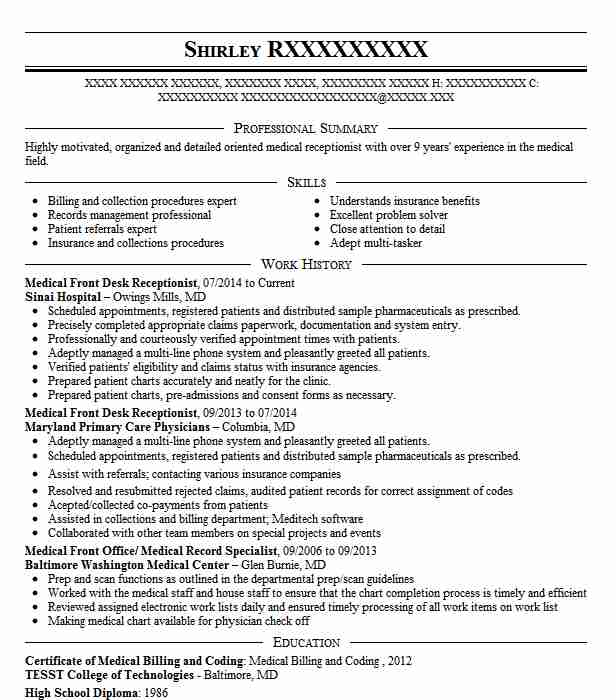 medical front desk receptionist resume sample
