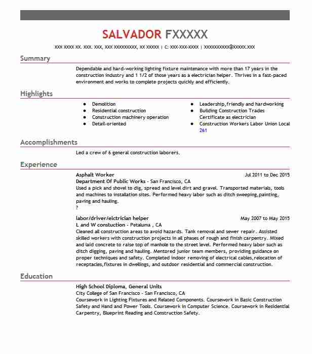 asphalt worker resume sample