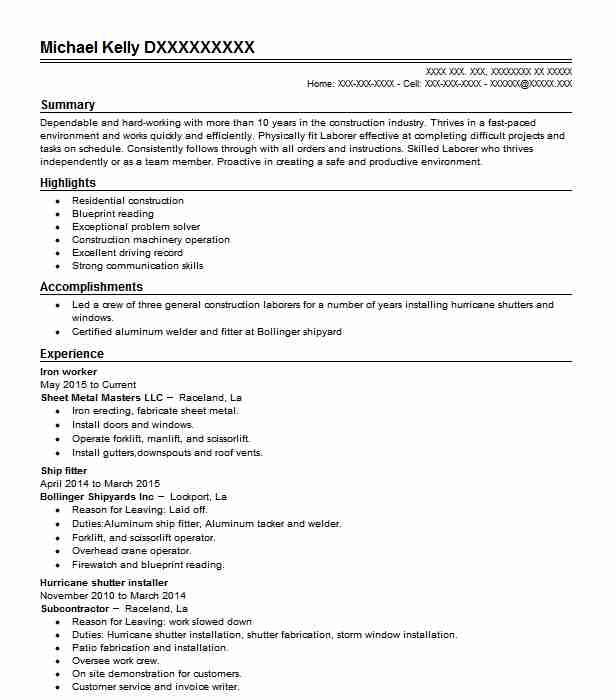 1577 construction trades construction resume examples in louisiana top construction trades construction resume malvernweather Images