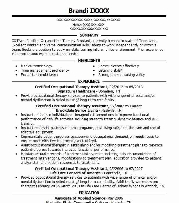 certified occupational therapy assistant objectives