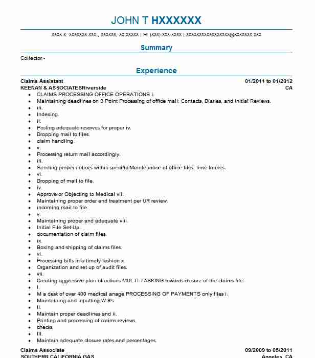 claims assistant resume sample