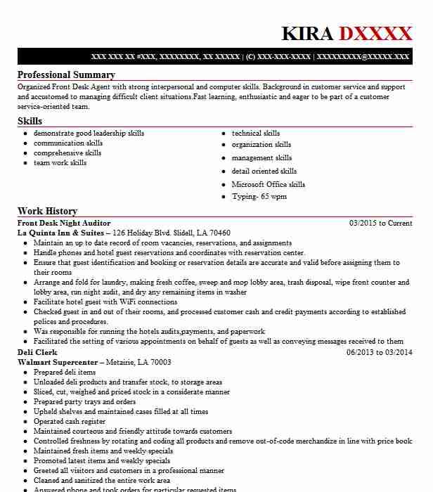 front desk night auditor resume sample