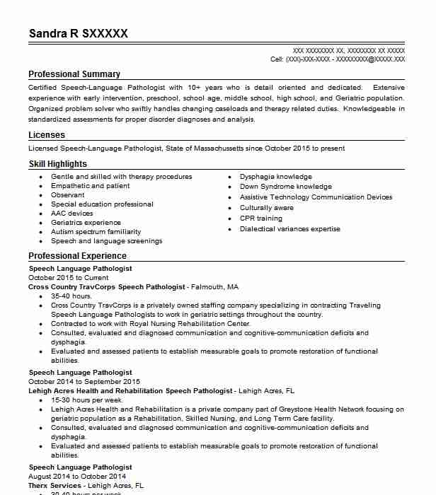 Best Speech Language Pathologist Resume Example Livecareer