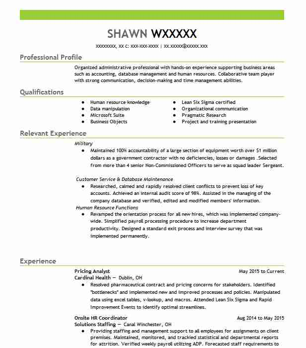 pricing analyst resume sample