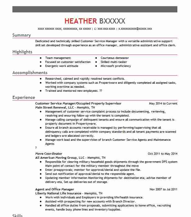 1285 Customer Service Management (Customer Service) Resume Examples ...