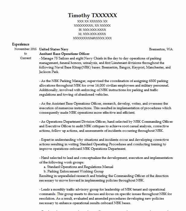 Assitant Base Operations Officer Resume Example United States Navy
