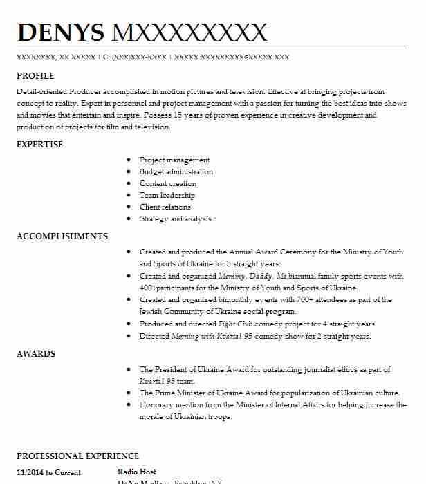 11655 Television And Radio Resume Examples | Entertainment And Media ...