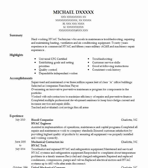 Hvac Engineer Resume Example Engineering Resumes Livecareer