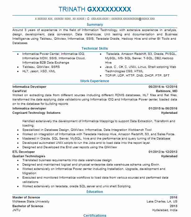 Informatica Developer Resume Sample | Developer Resumes ...