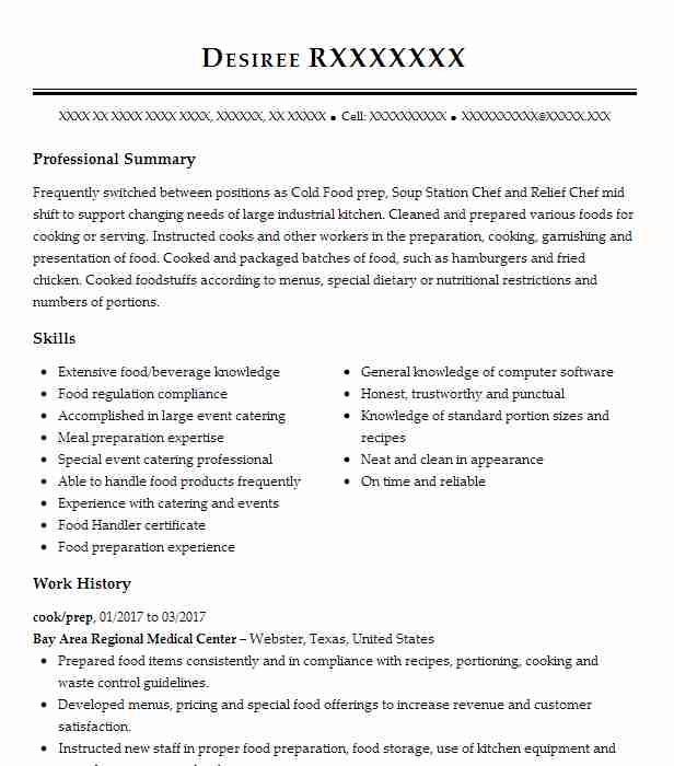 Cook Prep Resume Example Bay Area Regional Medical Center Humble